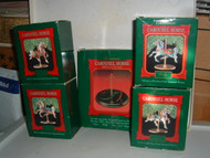 Hallmark CAROUSEL HORSE 1989 Set of 5 ornaments & display stand