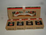 Hallmark CLAUS & CO R.R. TRAIN 1991 Set of 4 ornaments & Trestle
