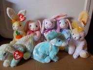 TY Beanie Babies BUNNIES RABBITS (7) Carrots Eggerton Spring Cottonball Nibbles