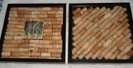 "Wine Cork Shadow Box Framed Glass 13"" x 13"" Set of 2 Wall Art Hanging"