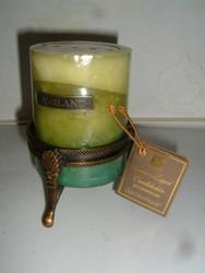 """Aromatique Spoon-Legged Candleholder w/ Ashland 4"""" Turquoise Spa Pillar Candle"""