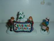 Dept 56 CHRISTMAS BAZAAR SIGN (Damaged) Heritage Village Original Box #5659-8