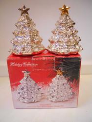 Godinger Silver plated Salt & Pepper Shaker Set Holiday Trees