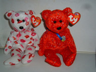 Ty Beanie Babies 10 yrs DECADE & KISSY Valentines Red 2003 NWT