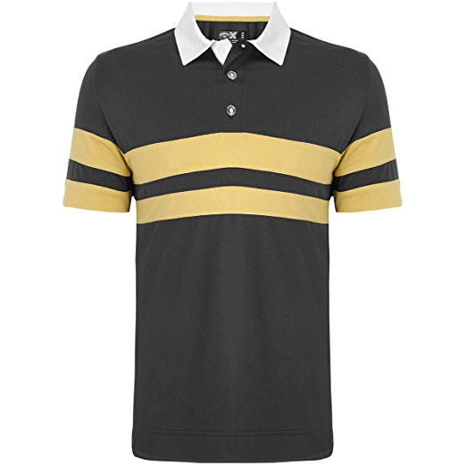 Callaway Mens X Series Rugby Chest Striped Golf Shirt Ombre Blue Med