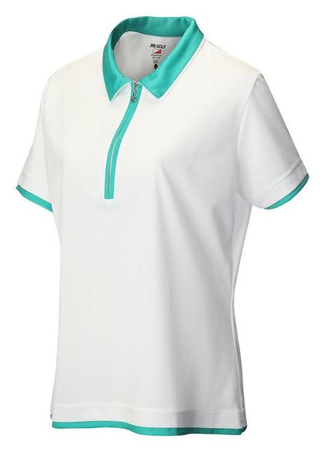 JRB Ladies White Short Sleeved Golf Shirt 2017