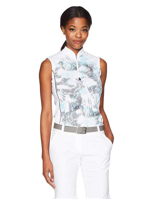 Callaway Women's Sleeveless Print Golf Shirt Bright White Small