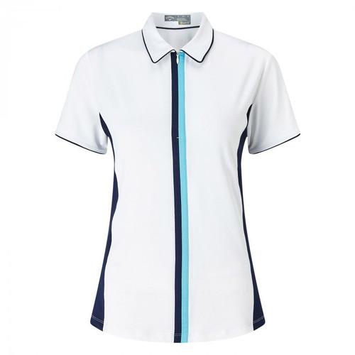 Callaway Women's Colour Blocked Short Sleeve Golf Shirt Bright White