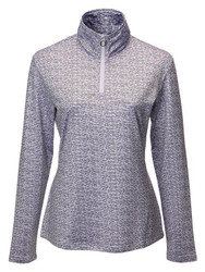 JRB Ladies 1/4 Zipped Golf Top Lavender/Navy Print