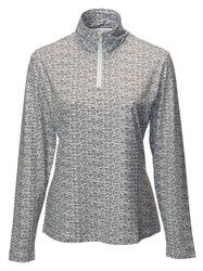 JRB Ladies 1/4 Zipped Golf Top White/Black Print