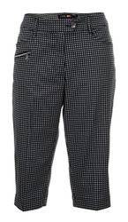 JRB Ladies CAPRI CROPPED Golf Trousers Black Gingham