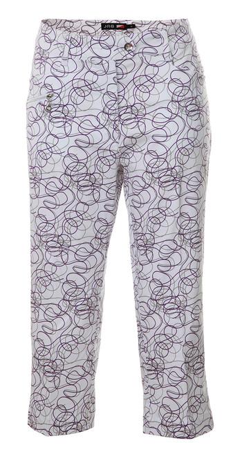 JRB Ladies CAPRI CROPPED Golf Trousers Purple Twirl