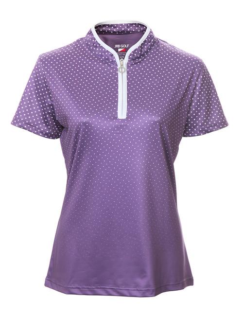 JRB Ladies Spot Print Short Sleeved Golf Shirt