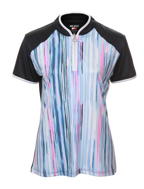 JRB Ladies Patterned Print Short Sleeved Golf Shirt