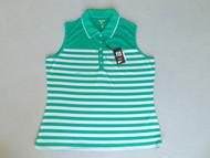 JRB Ladies Stripe Sleeveless Golf Shirt Apple