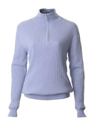 JRB Ladies Cable Kinit Golf Sweater 1/4 Zipped Blue