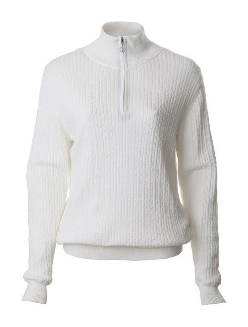 JRB Ladies Cable Kinit Golf Sweater 1/4 Zipped White
