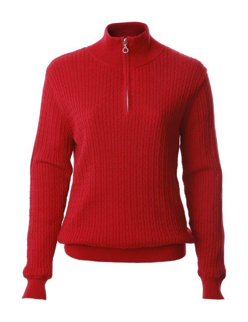 JRB Ladies Cable Kinit Golf Sweater 1/4 Zipped Red