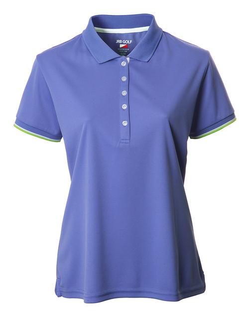 JRB Ladies Plain Short Sleeved Golf Shirt Dusted Peri