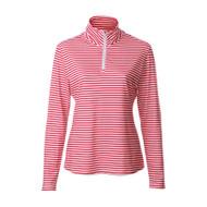 JRB Ladies 1/4 Zipped Golf Top Red Stripe