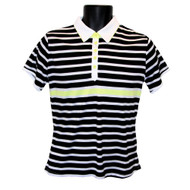 JRB Ladies Golf Shirt Black/White/Lemon Striped