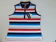 JRB Ladies Striped Sleeveless Golf Shirt Navy