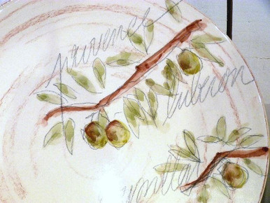 Provence Round Platter with Olive print