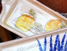 Provence Cake Plate shown in Lemon and Lavender.