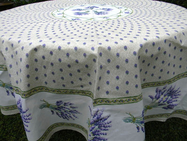 Lavender tablecloth in cream