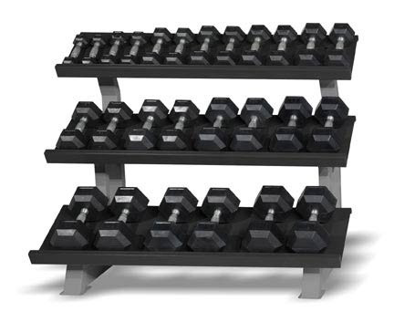 "CAP 3-Tier ""Stadium"" Rack, 52 in displaying dumbbells"