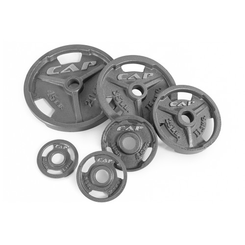Multiple weights of CAP Olympic Cast Iron Grip Plate