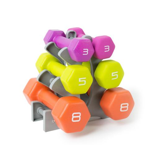 32 lb Tone Fitness Neoprene Coated Dumbbell Set with Rack