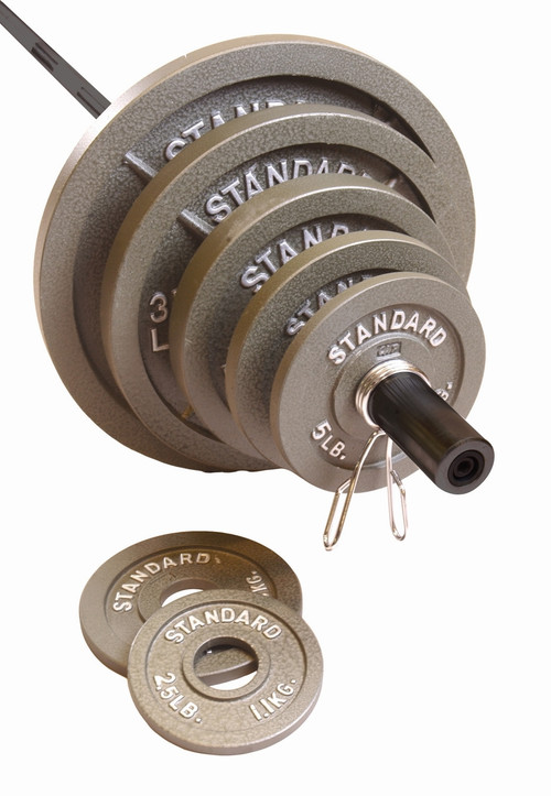 CAP Olympic Barbell Set, Gray, 300 lb with black bar.