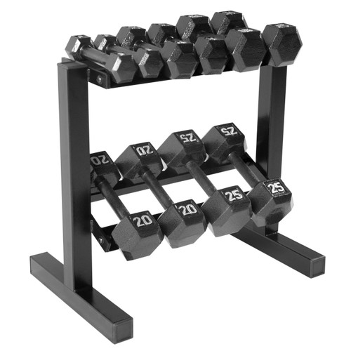 150 lb CAP Black Cast Iron Hex Dumbbell Set with Rack