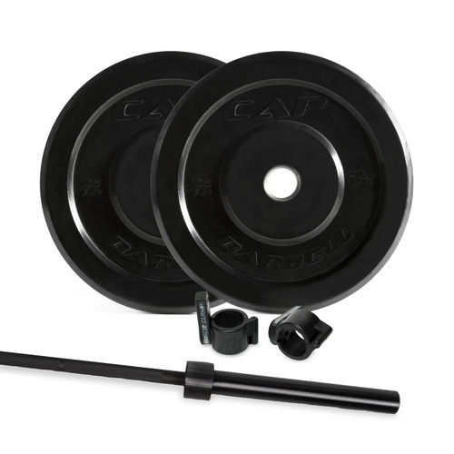 CAP 135 lb Bumper Plate Set with Bar and Muscle Clamp