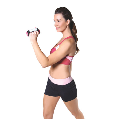 Model using Tone Fitness Neoprene Coated Walking Dumbbells