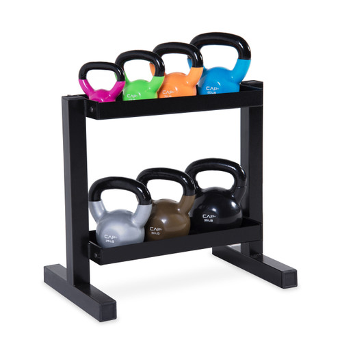 CAP 140 pound Vinyl-Dipped Kettlebell Set with Rack