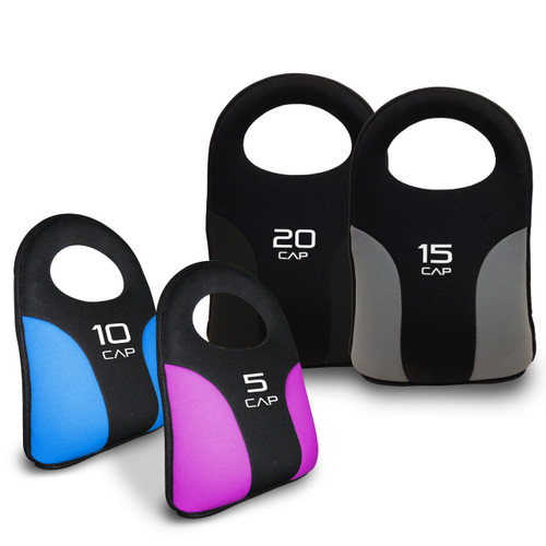 CAP Soft Kettlebells. Kettlebells and colors from left to right: 10 pound blue, 5 pound pink, 20 pound black, 15 pound gray