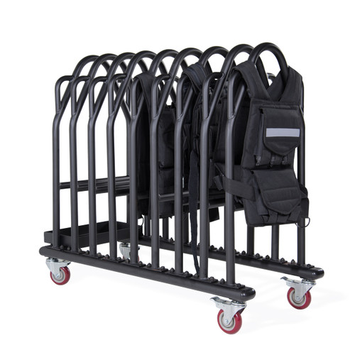 CAP Weighted Vest Storage Rack featuring weighted vests