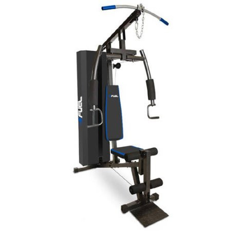 Fuel pureformance home gym with lb weight stack cap barbell