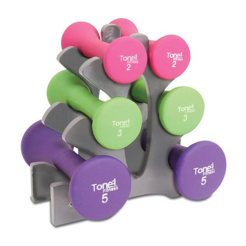Tone Fitness Hourglass Neoprene Dumbbell Set, 20 lb