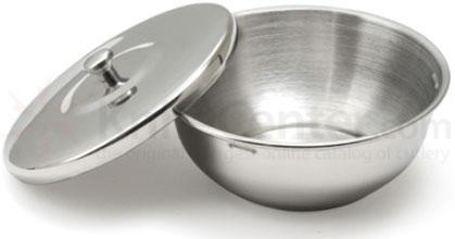 Chrome Shaving Bowl with Lid