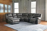 Nantahala Slate LAF Corner Chaise, Armless Chair, Wedge, Armless Recliner, Console with Storage & RAF Zero Wall Recliner Sectional