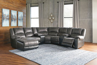 Nantahala Slate LAF Corner Chaise, Console with Storage (2), Armless Chair, Wedge, Armless Recliner & RAF Zero Wall Recliner Sectional