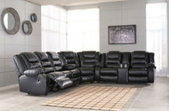 Vacherie Black Reclining Sofa, Wedge & Double Reclining Loveseat with Console Sectional
