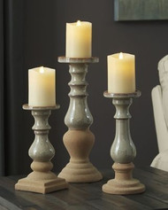 Emele Taupe Candle Holder Set (3/CN)