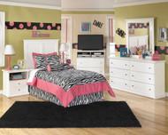 Bostwick Shoals White Dresser, Mirror, Twin Panel Headboard & 2 Nightstands