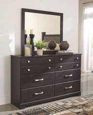 Reylow Dark Brown Dresser & Mirror