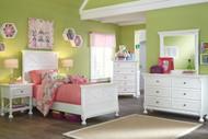 Kaslyn White 7 Pc. Dresser, Mirror, Chest, Twin Panel Bed & 2 Nightstands
