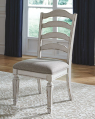 Realyn Chipped White Dining Upholstered Side Chair (2/CN)